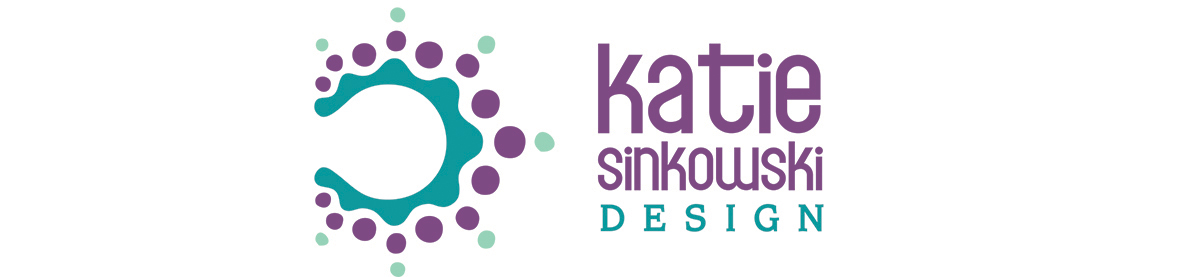 Katie Sinkowski Design logo with colour burst