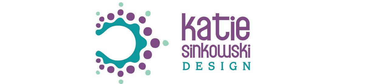 Katie Sinkowski Design logo with colour burst